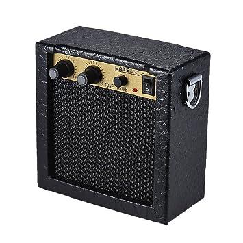ammoon Amplificador Bateria Cargada Mini Guitarra Bajo Ukulele Ukelele Amp Altavoz Alta Sensibilidad 3 Vatios de 9 Voltios con Control de Tono de Volumen ...