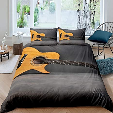 Feelyou Youth Bedding Set Guitar Printed Bedding for Boys Teen Girls Kids Retro Musical Instruments Art Duvet Cover Twin Size Antique Style Soft Bedspread Cover Rock Music Decor Comforter Cover
