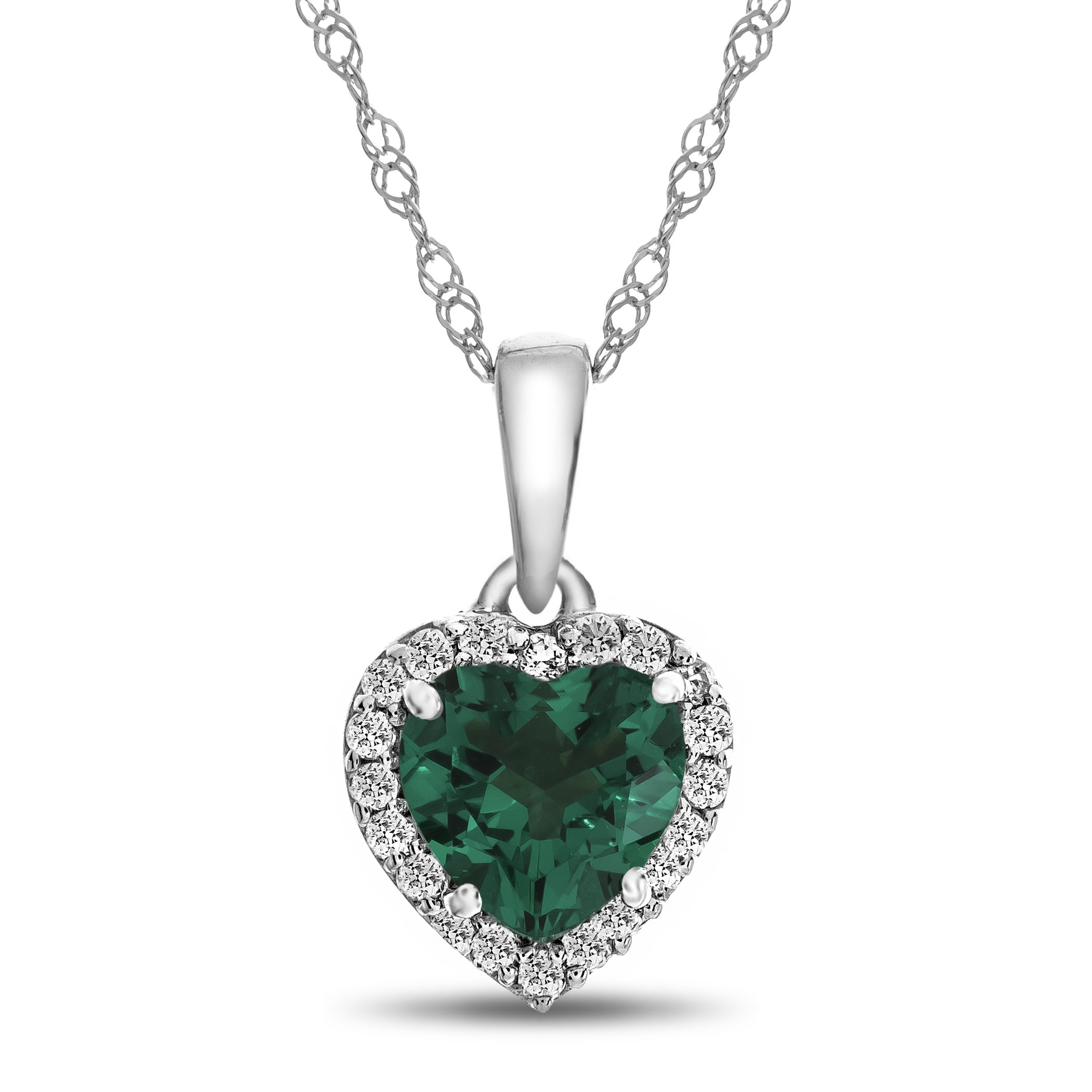 10k White Gold 6mm Heart Shaped Simulated Emerald with White Topaz accent stones Halo Pendant Necklace
