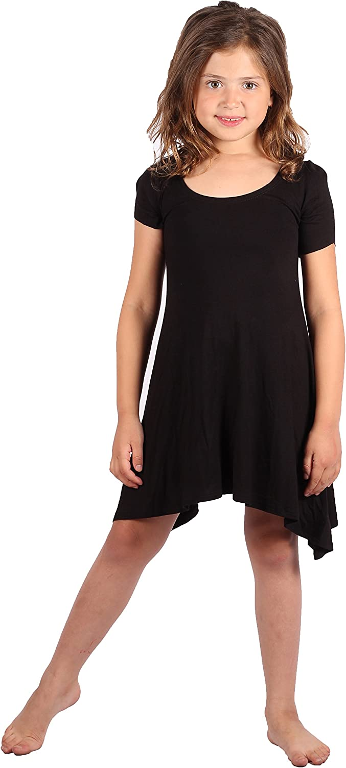 Solid T-Shirt Dress All Occasion Lori /&Jane Girls Comfy Swing Tunic Lightweight Rayon Material Short Sleeve