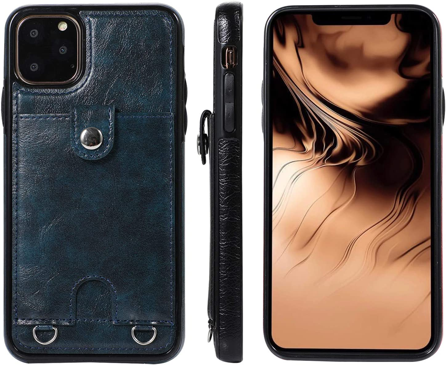Jaorty PU Leather Wallet Case for iPhone Xs Max Necklace Lanyard Case Cover with Card Holder Adjustable Detachable Anti-Lost Neck Strap for Apple iPhone Xs Max,Blue