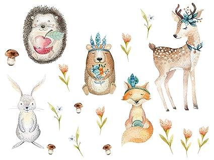Grazdesign Wandtattoo Kinderzimmer Tiere Wandsticker Waldtiere