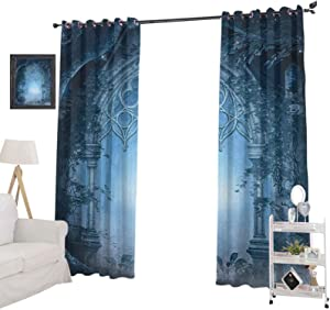 """YUAZHOQI Fantasy Window Curtain DrapePassage Doorway Through Enchanted Foggy Magical Palace Garden at Night View Window Curtains for Living Room 52"""" x 72"""", Navy Blue and Gray"""