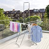 LANGRIA Gullwing Drying Rack Clothes Drying Rack Free Installed ,Foldable Laundry Rack Space Saving,heavy duty, Silver