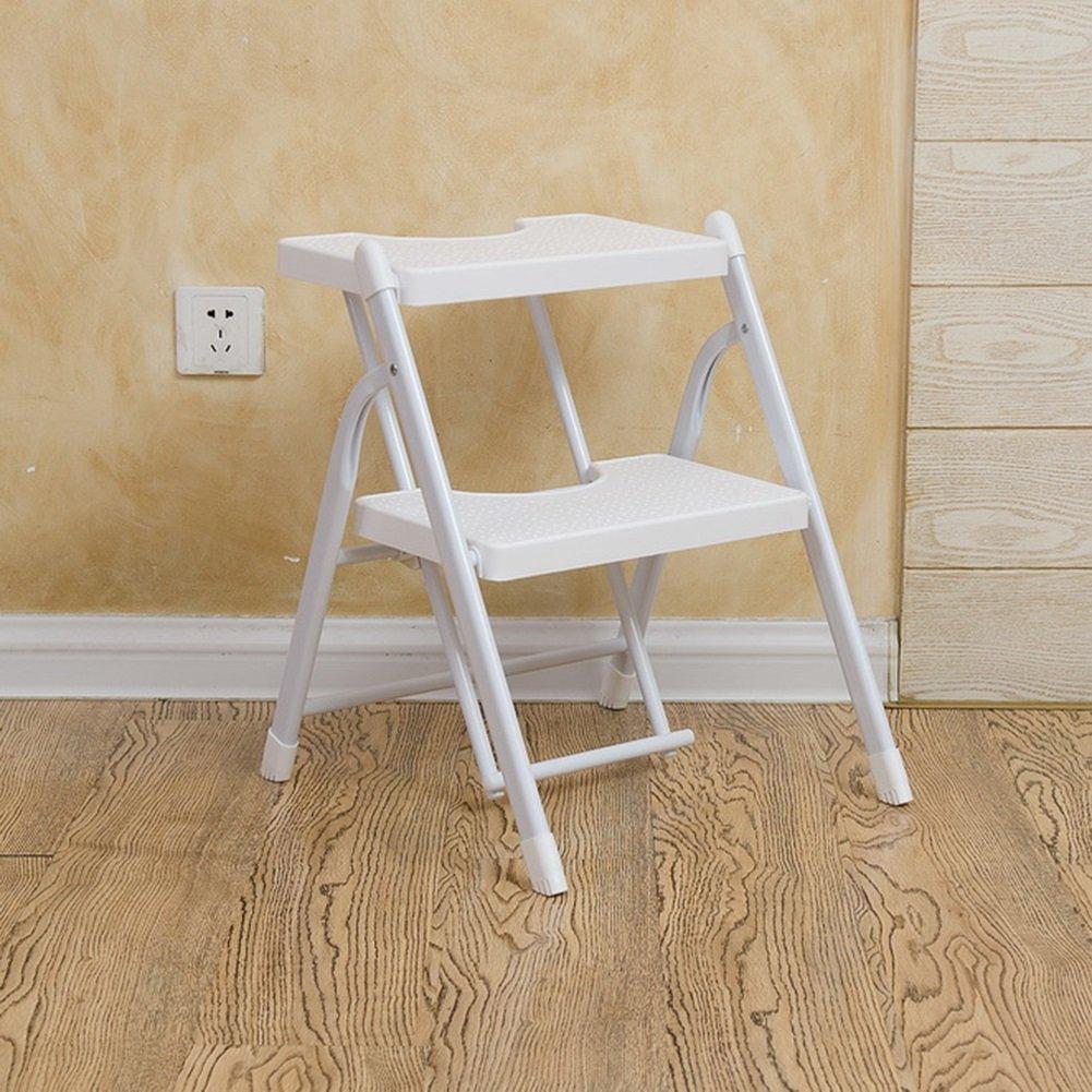 Sgabelli con gradini Due passi scaletta pieghevole antiscivolo scaletta sedia bianca sedia pedali domestici a spina di pesce a doppio uso interno (Colore : 3 Step) HWF Shop