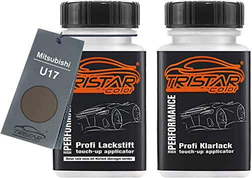 Tristarcolor Autolack Lackstift Set Für Mitsubishi U17 Titanium Grey Metallic Mercury Gray Metallic Basislack Klarlack Je 50ml Auto