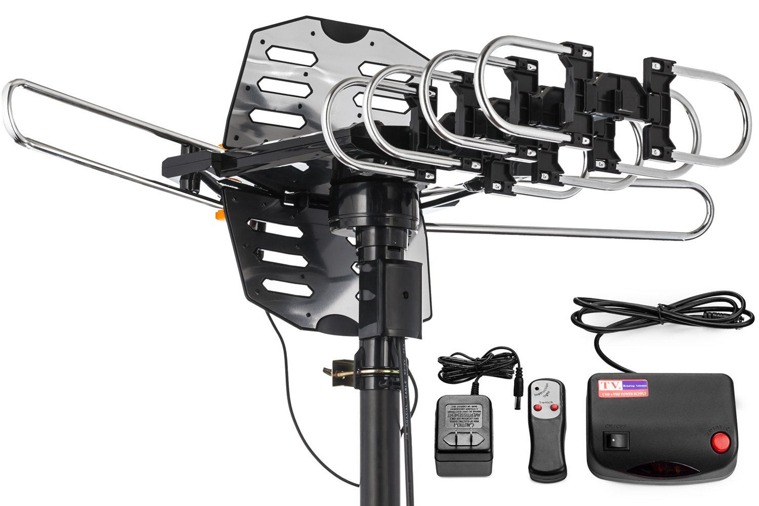 150 Miles Range Wireless Remote No Tools Required 360/° Rotation Black ViewTV WA-2708B Snap On Outdoor Amplified Digital TV Antenna