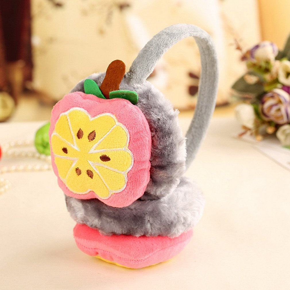 Lukis Girls Cute Cartoon Fruit Plush Ear Warmers Winter Outdoor Thick Foldable Earmuffs