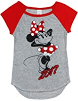 Disney Minnie Mouse 2017 Junior Girls T Shirt Grey Red Tee
