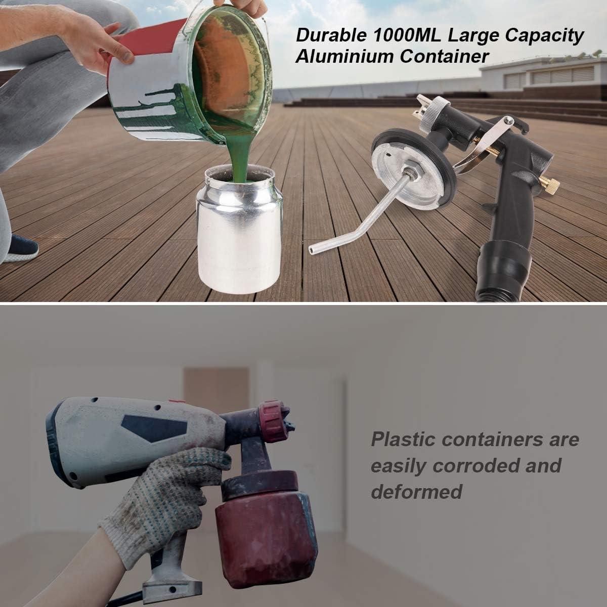 3 Patrones de Rociado Control de Flujo para el Interior y Exterior SG650 Boquilla de Cobre de 1 mm Huepar Pistola de Pulverizaci/ón El/éctrica 650W con Recipiente de Metal 1000ml Pistola de Pintura
