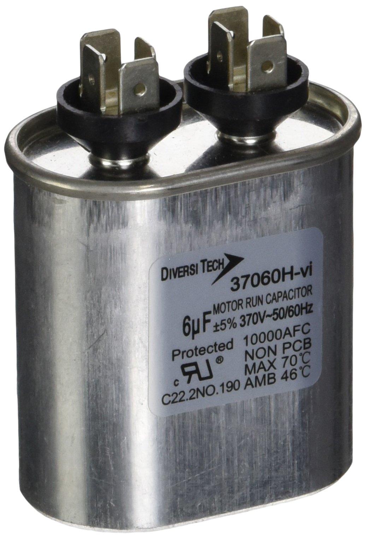 Diversitech 37060H Mtr. Run Cap, Oval, 6uf 370v