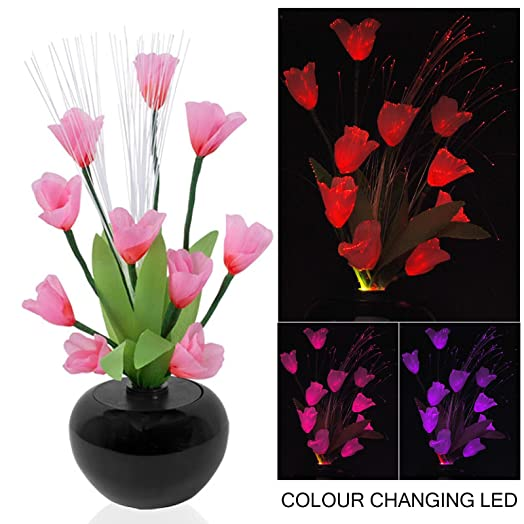 Modern rgb colour changing led fibre optic flower vase mood light modern rgb colour changing led fibre optic flower vase mood light floral display with flexible stems mozeypictures Images