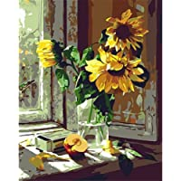 ADanie DIY Oil Painting Paint by Number Kits Sunflower at Windowfor Adult Beginners Kids 16 * 20 Inch (No Frame)