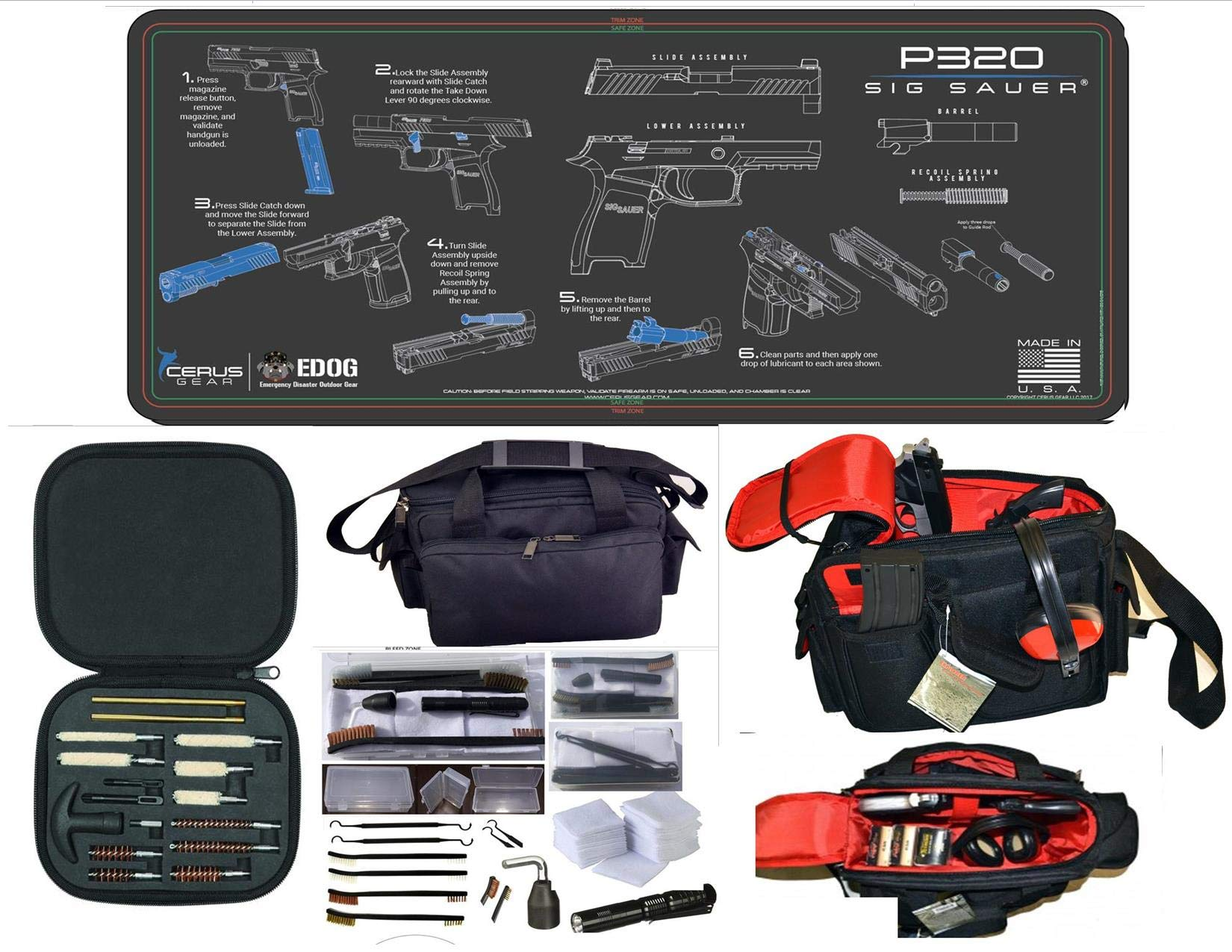 EDOG Sig Sauer P320 Cerus Instuctional Step by Step Gun Cleaning Mat & Black Hard Stone Hot Shot High Vis Handgun Pistol Range Duty Bag & 27 Pc Hand Gun Range/Field Cleaning Kit by EDOG (Image #1)