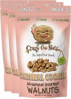 product image for Crazy Go Nuts Walnuts - Oatmeal Cookie, 4.5 oz (3-Pack) - Healthy Snacks, Vegan, Gluten Free, Superfood - Natural, Non-GMO, ALA, Omega 3 Fatty Acids, Good Fats, and Antioxidants
