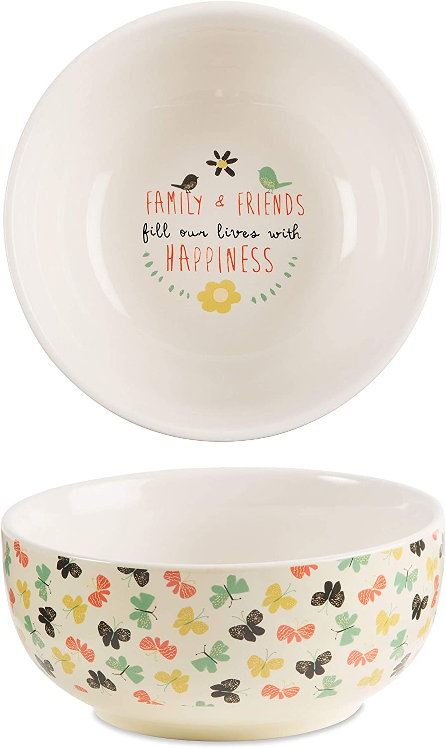 Pavilion Gift Company Family & Friends Fill our Lives with Happiness Decorative Ceramic Bowl, Multicolor