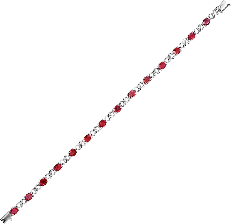 Jewelco Europa Señoras Oro Blanco 18k 0.08ct Diamante 6.3ct Rubi tenis pulsera