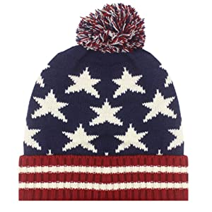 US Flag Winter Hat with Pom Poms