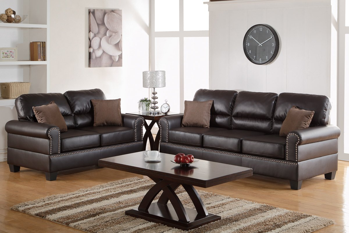 Amazon.com: Poundex F7878 Bobkona Shelton Bonded Leather 2 Piece Sofa And  Loveseat Set, Espresso: Kitchen U0026 Dining