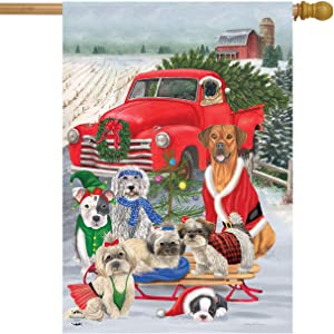"Briarwood Lane Holiday Dogs Christmas House Flag Pickup Truck Humor 28"" x 40"""