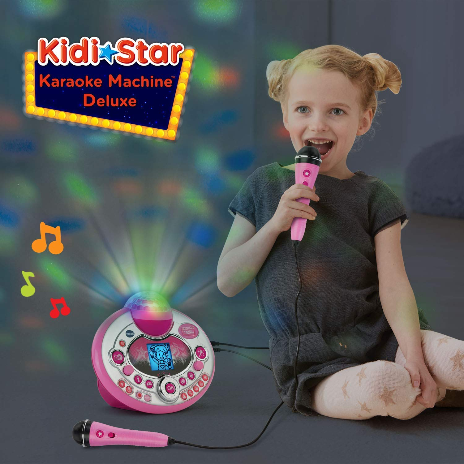 VTech Kidi Star Karaoke System 2 Mics with Mic Stand & AC Adapter, Pink (Renewed) by VTech (Image #5)
