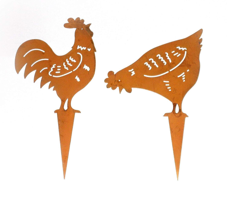 PO Dekostecker Hahn und Huhn aus Metall mit Rostfinish 2er-Set