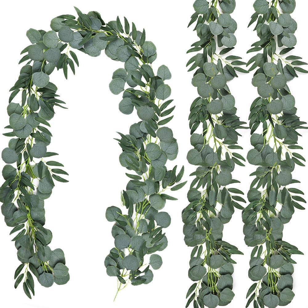 CEWOR 3 Pack Artificial Eucalyptus Garland with Willow Leaves Hanging Greenery Plants for Home Wedding Indoor Outdoor Decoration