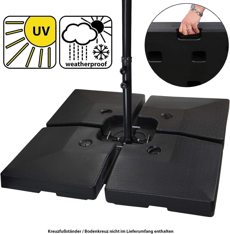 BB Sport Peso de la sombrilla Base para sombrilla 4 Partes por Parasol Base Cruzada Negro 90 litro 120 kg para llenar de Agua o Arena