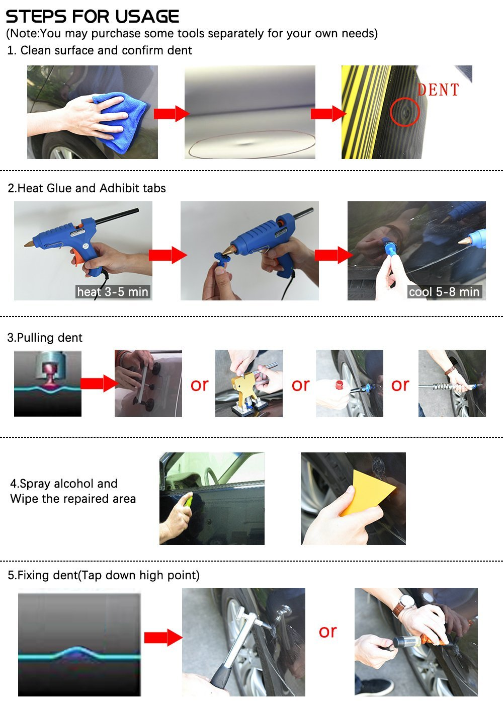 JMgist PDR Tools Reflector Line Board Paintless Dent Repair Tools with Adjustable Holder for Car body dent removal Yellow Stripe Testing Tool by JMgist (Image #7)