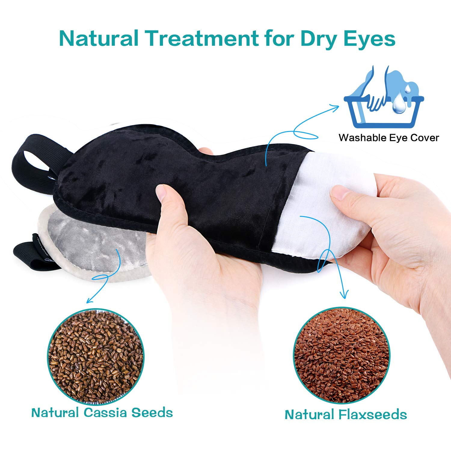 Moist Heat Eye Compress for Dry Eyes(2 Packs),ProCIV Microwave Hot Eye Mask with Flaxseed Cassia for Eye Relief,Spa,Blepharitis Therapy-Washable,Reusable