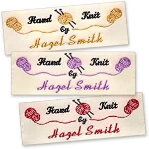 Knit Sewing For Crochet White Cotton Custom Printed Labels  Sew in Clothing labels  Personalized Fabric Labels Musical Header