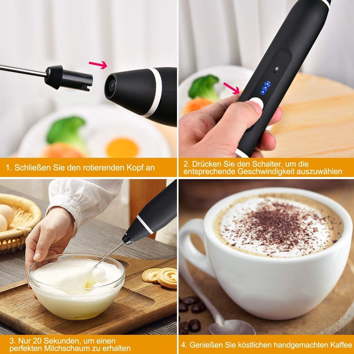 Schiumalatte elettrico con doppio frullatore per caff/è funzionamento a batteria cappuccino Funkprofi in spugna 2 in 1 ricaricabile uova latte