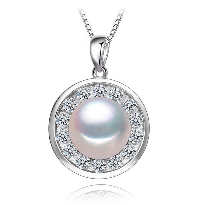CS-DB Jewelry Silver White Pearl Elegant Round Chain Charm Pendants Necklaces