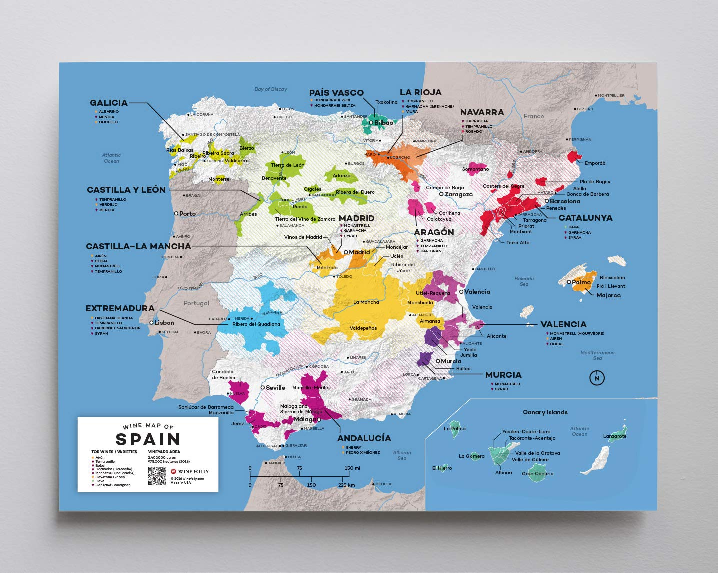 Amazon.com: Póster de mapa de vino de España de Wine Folly ...