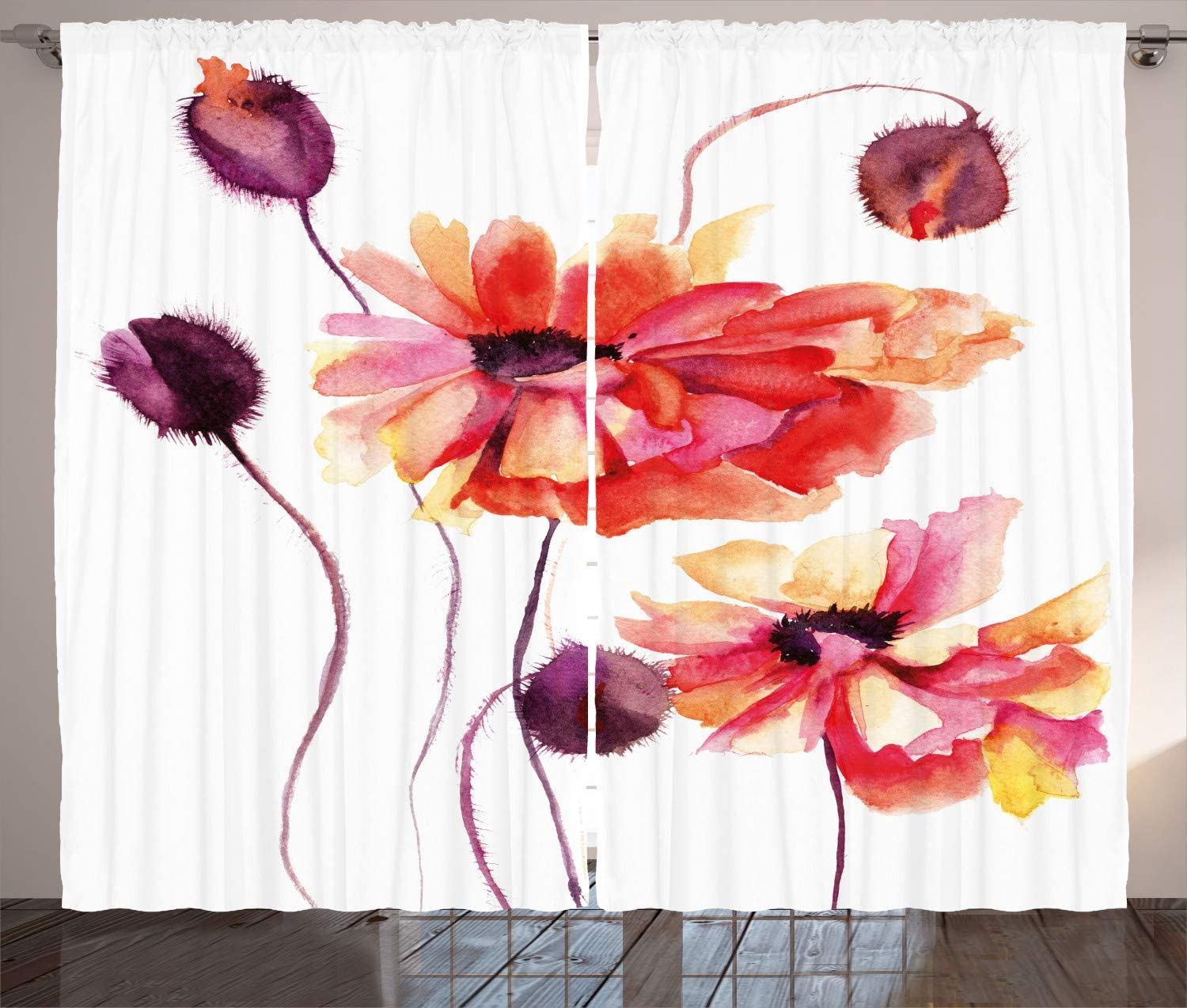 "Ambesonne Floral Curtains, Watercolor Painting Poppy Flowers and Buds Spring Nature Design, Living Room Bedroom Window Drapes 2 Panel Set, 108"" X 90"", Dark Brown"