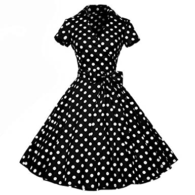 Collocation-Online Retro Dresses 2018 Rockabilly Polka Dot Bow Pinup Ball Grown Party Robe Plus