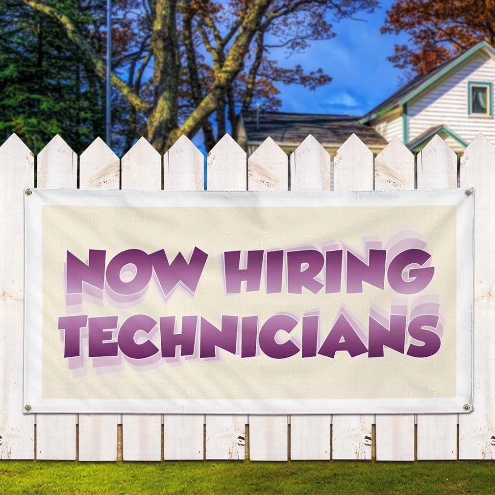 Set of 2 6 Grommets 32inx80in Vinyl Banner Sign Now Hiring Technicians Business Outdoor Marketing Advertising White Multiple Sizes Available