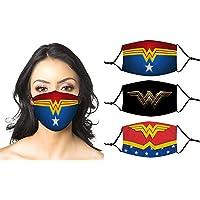 Wonder-woman 3 stuks gezichtsmaskers, wasbaar, herbruikbare gezichtsbedekkingen met filter, bandana, balaclava…