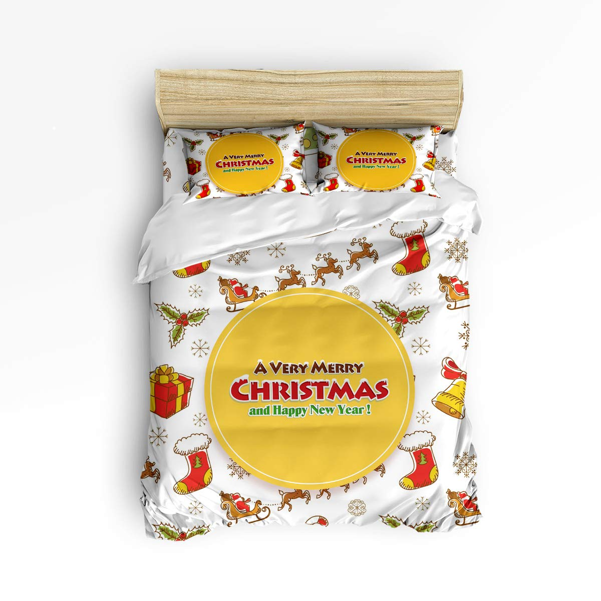 Z&L Home メリークリスマス 寝具4点セット 掛け布団カバー カートゥーン ホリデーパターン ラグジュアリー ソフト フラット シーツセット 装飾枕カバー付き ティーン ガールズ ボーイズ メンズ レディース キッズ フル LFFMARNM11210EWLYX-SWTQ00933SJTBZLH B07KQZ53TD Merrychristmas29 フル