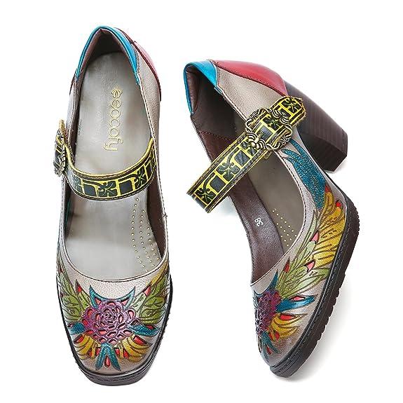 Socofy Cuero Zapatos de tacón medio, Merceditas Tacónes Fabricados a mano en piel genuina para su total confort y comodidad, Modelo con cierre de hebilla ...