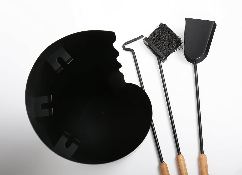 3-teilig schwarz Holzgriffe Lienbacher Kaminbesteck anthrazit beschichtet
