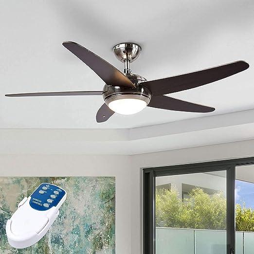 Ventilador de techo con lámpara Anneka (Moderno) en Marrón hecho de Madera e.o. para Salón & Comedor (1 llama, R7s 78,3 mm, C) de LINDBY | Ventilador: Amazon.es: Iluminación