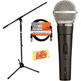 Shure SM58S Vocal On/Off Switch Microphone Bundle with Boom Stand, XLR Cable, Windscreen, and Austin Bazaar Polishing Cloth