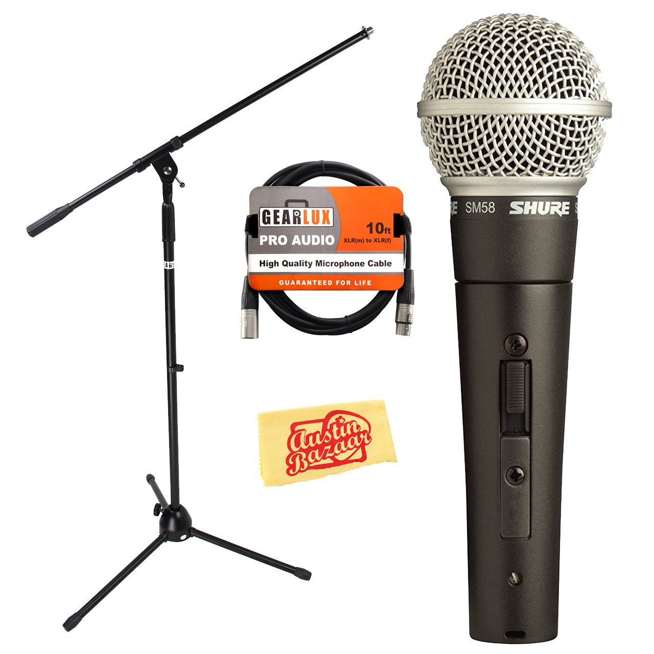 Shure SM58S On/Off-Switch Vocal Microphone Bundle with Boom Stand, XLR Cable, and Austin Bazaar Polishing Cloth