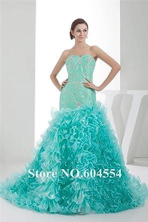 37d9ccf8acfc 2016 Custom Made Debutante Dress Green Oragnza Beading Ruffles Mermaid Prom  Dress Evening Dress Vestido De Festa wdh1-10-2 Size   18  Amazon.co.uk   Clothing