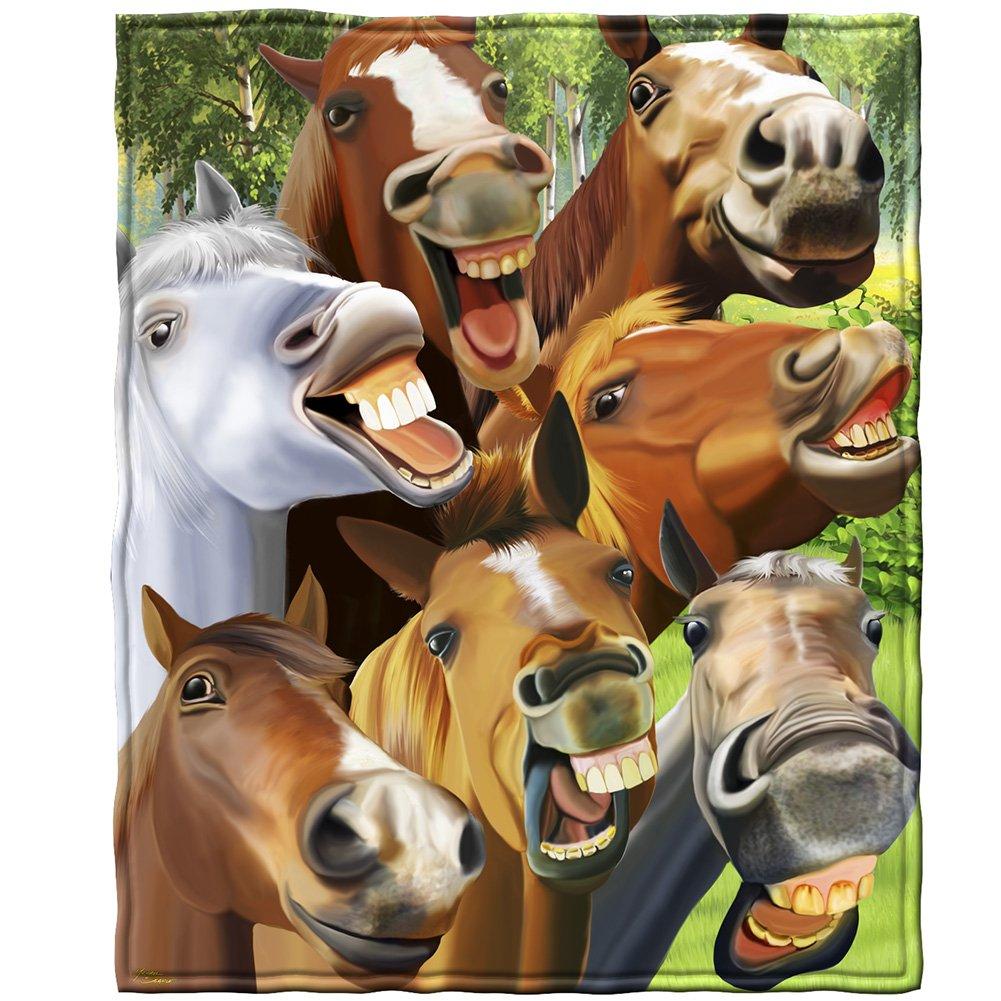 Horses Selfie Fleece Throw Blanket