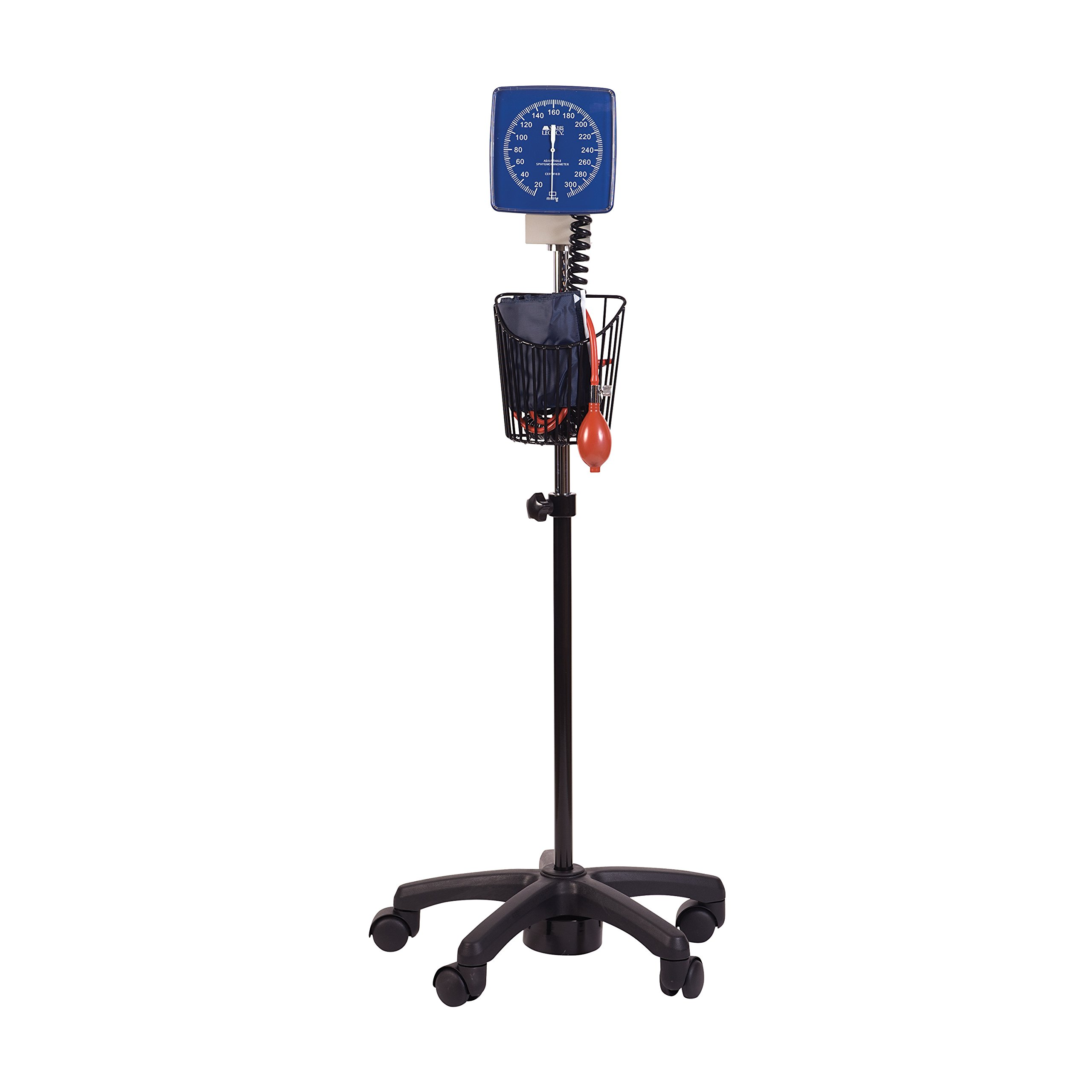 MABIS Legacy Professional Clock Aneroid Sphygmomanometer Blood Pressure Gauge with Adult Cuff, Rolling Stand, Wall Mounting Bracket, Blue