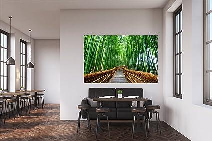 Vinilo Decorativo Pared Zen Pasarela De Madera Bambu Decoracion - Habitaciones-zen