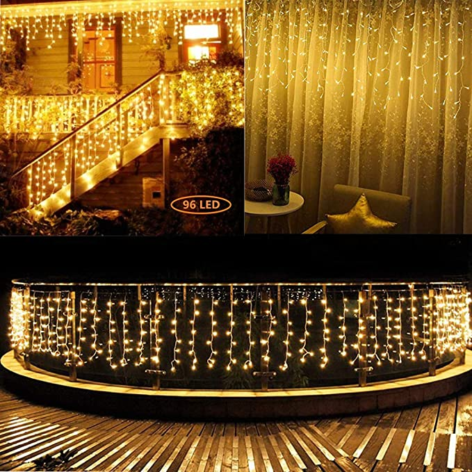 Details about  /USB Charger LED Lights Curtain Icicle Lights for Backdrop Garden Warm White