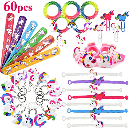 Danirora Unicorn Slap Bracelets 60 Pack Party Favors Christmas Goodie Bag Fillers For Girl Birthday